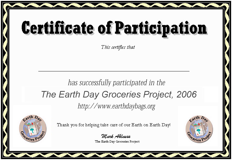 The Earth Day Groceries Project: Participation certificates ready